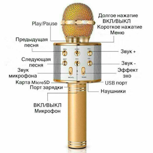Беспроводной караоке-микрофон WS-858 инструкция