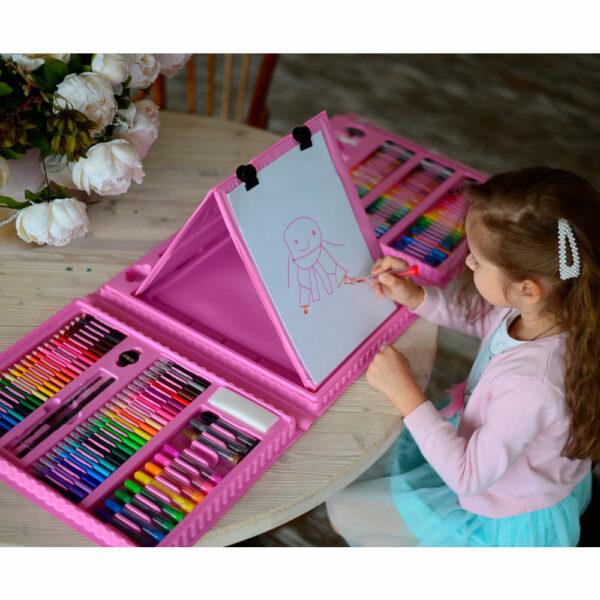 Набор для рисования в чемоданчике с мольбертом 208 предметов 6