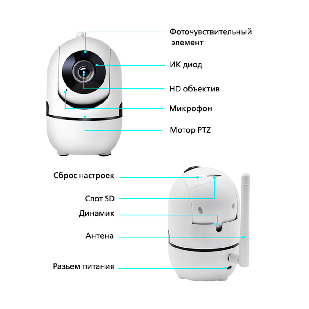 Беспроводная поворотная IP Wi-Fi камера видеонаблюдения для дома 8