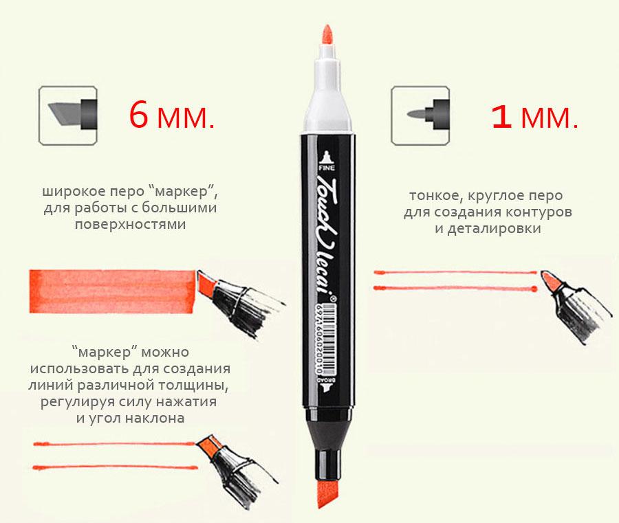 Профессиональные маркеры для скетчинга Touch размеры пера