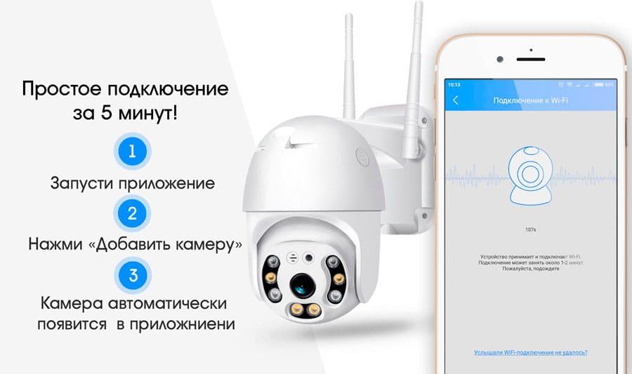 Уличная поворотная PTZ ip Wi-Fi камера видеонаблюдения 9