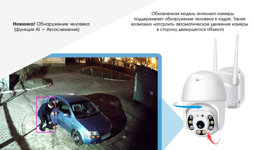 Уличная поворотная PTZ ip Wi-Fi камера видеонаблюдения 13